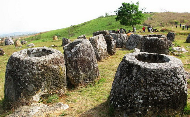 Xvlor Plain of Jars is megalithic burial landscape in Xiangkhoang Plateau