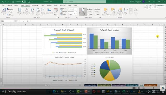 تعلم برنامج مايكروسوفت إكسل Excel : اضافة المخططات المبيانية
