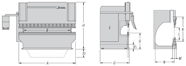 Hình ảnh kích thước máy chấn tôn cnc APHS Baykal