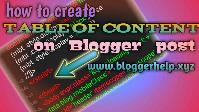make content table in Blogger post