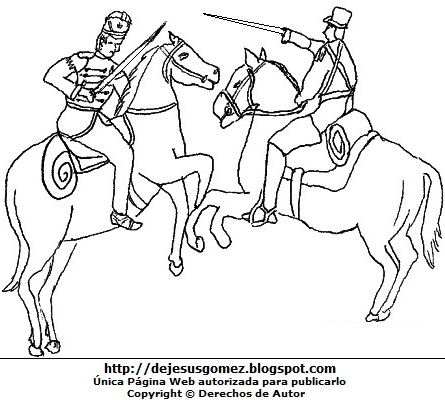 Dibujo de la Batalla de Junín para colorear pintar e imprimir de Jesus Gómez