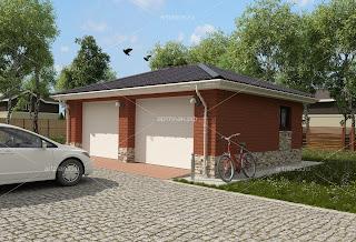 Проект гаража на 2 машины из кирпича
