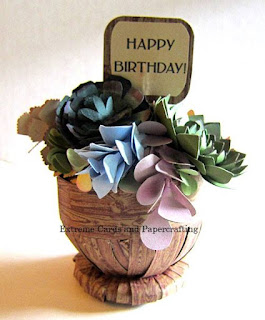 Papercraft succulents birthday card with cut files for Silhouette and Cricut.