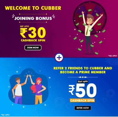Cubber App: Free Mobile Recharge via Refer & Earn Offer