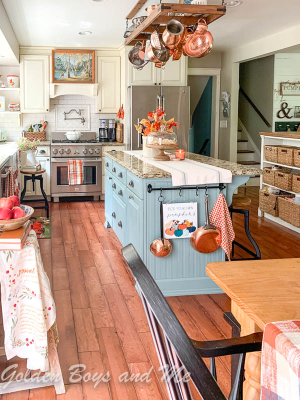 Farmhouse style kitchen with Oval Room Blue by Farrow and Ball paint - www.goldenboysandme.com