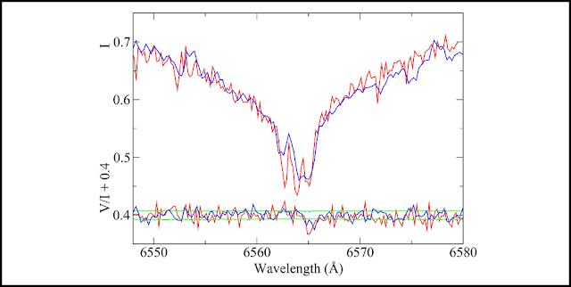 First observation of Zeeman splitting in the core of Hydrogen alpha due to a field of about 60 kilogauss in WD2047+372. The ISIS observation is in blue, the ESPaDOnS observation (at higher resolving power) is shown in red. The circular polarisation spectrum is shown below the intensity profile, shifted up by +0.4 to facilitate comparison with the spectral line profile. The green lines bracketing the circular polarisation are ± one sigma. Figure extracted from Landstreet et al. (2016).