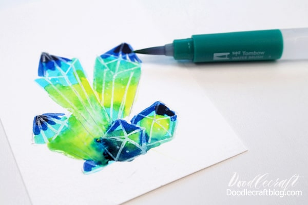 Blend the Tombow Dual Brush pens with the water brush to make the crystal cluster a galaxy.