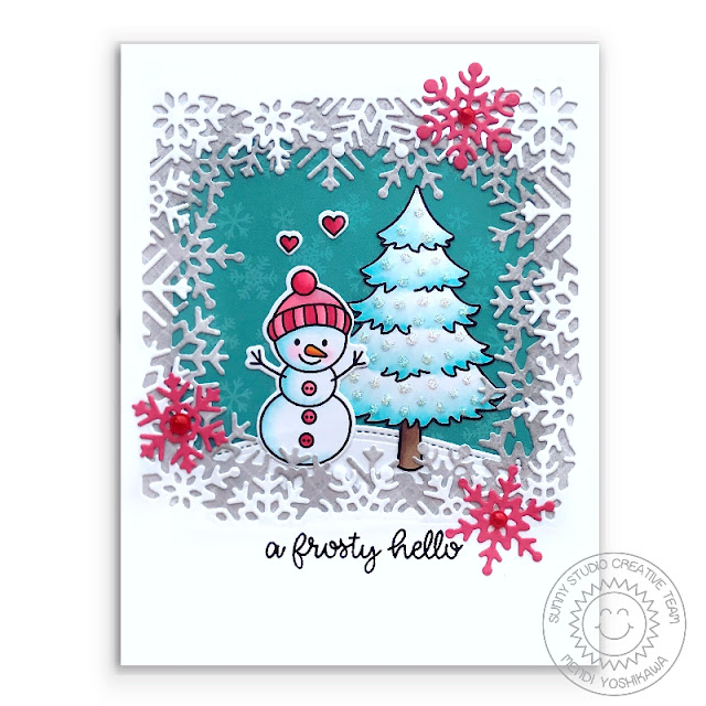 Sunny Studio: Feeling Frosty Snowman Holiday Christmas Card (using Layered Snowflake Frame Dies, Seasonal Trees Stamps & Holiday Cheer 6x6 Paper)