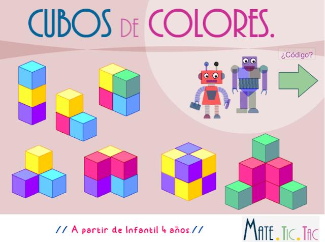 Cubos de colores. Construcción y numeración a partir de Infantil 4 años.