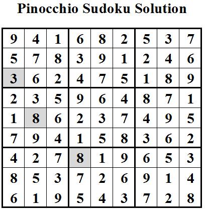 Pinocchio Sudoku Solution