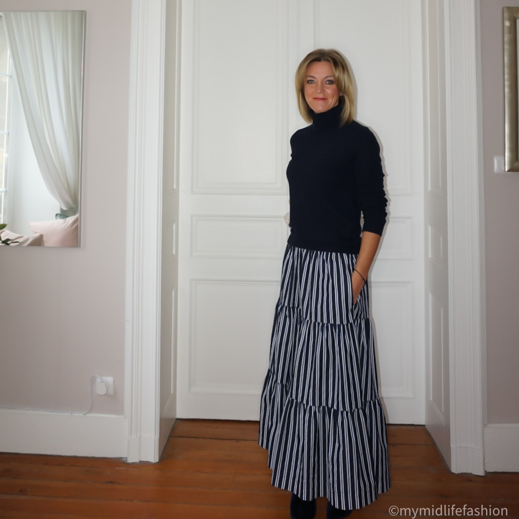 my midlife fashion, marks and Spencer pure cashmere roll neck jumper, parosh stripe tiered maxi skirt, marks and Spencer velvet stiletto heel ankle boots