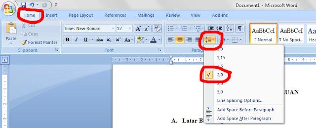Cara Cepat Mengatur Jarak Spasi 2,0 di Microsoft Word 2007