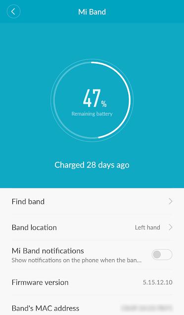 Screenshot of Mi Fit app
