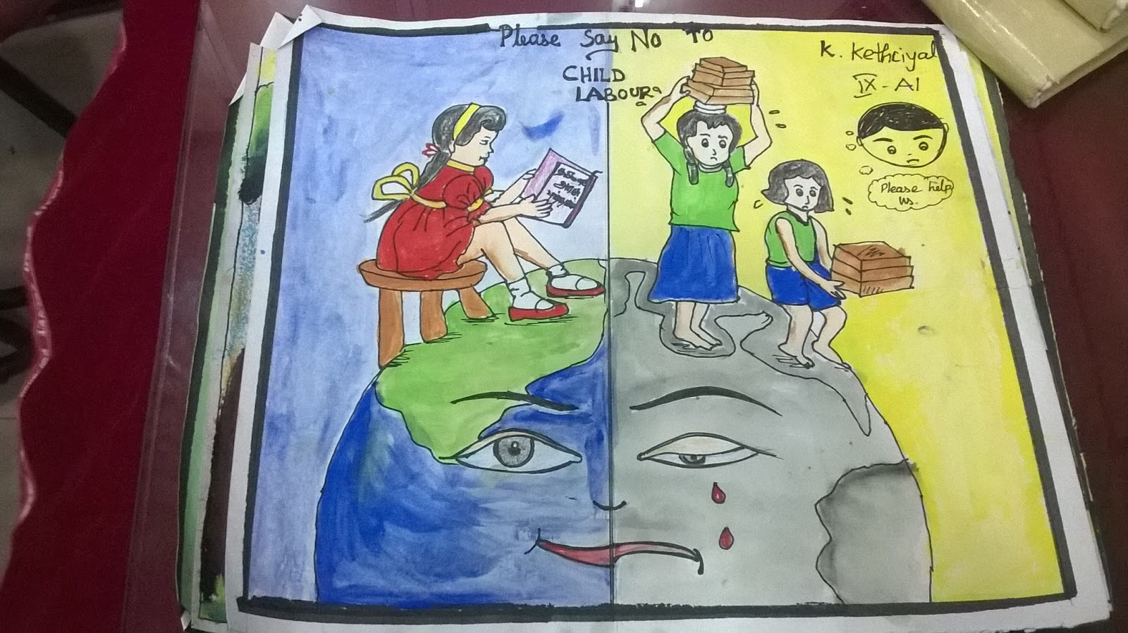 Easy Drawing For Child Labour Children Without A Childhood Child