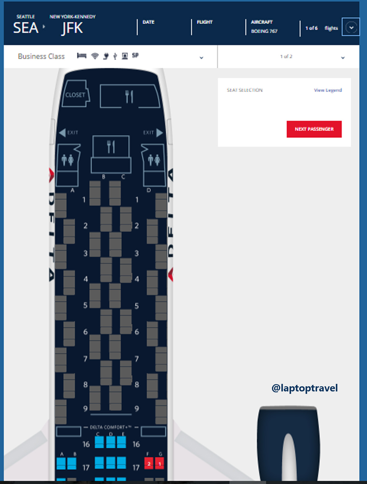 the entire first class cabin is greyed out but not a single seat has been sold