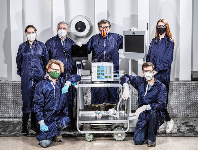 Some of the dozens of engineers involved in creating a ventilator prototype specially targeted to coronavirus disease patients at NASA's Jet Propulsion Laboratory in Southern California. Credits: NASA/JPL-Caltech