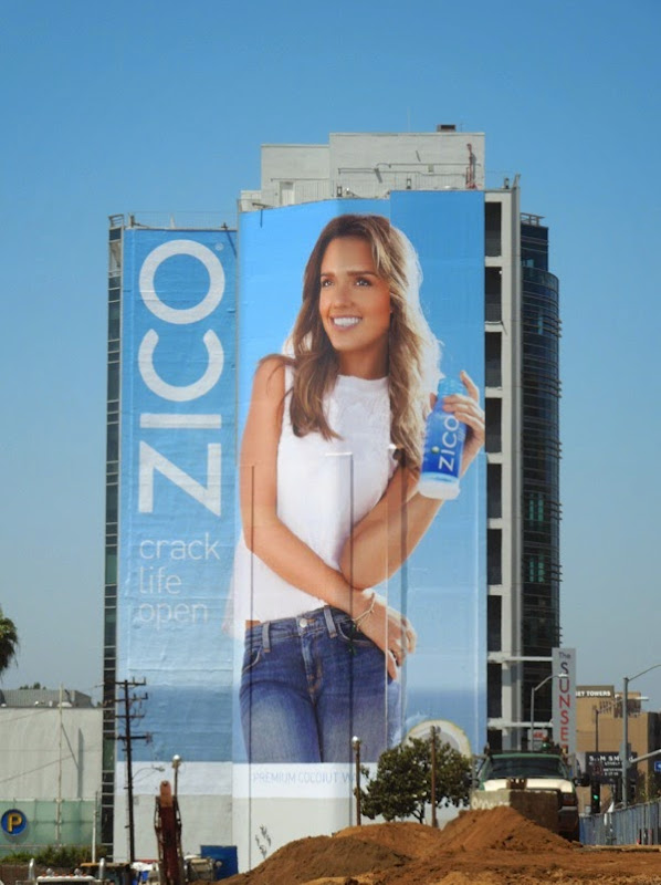 Giant Jessica Alba Zico Crack life open billboard Sunset Strip