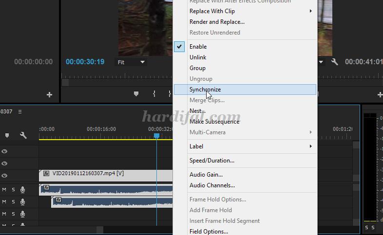 cara agar video dan suara sinkron di adobe premiere