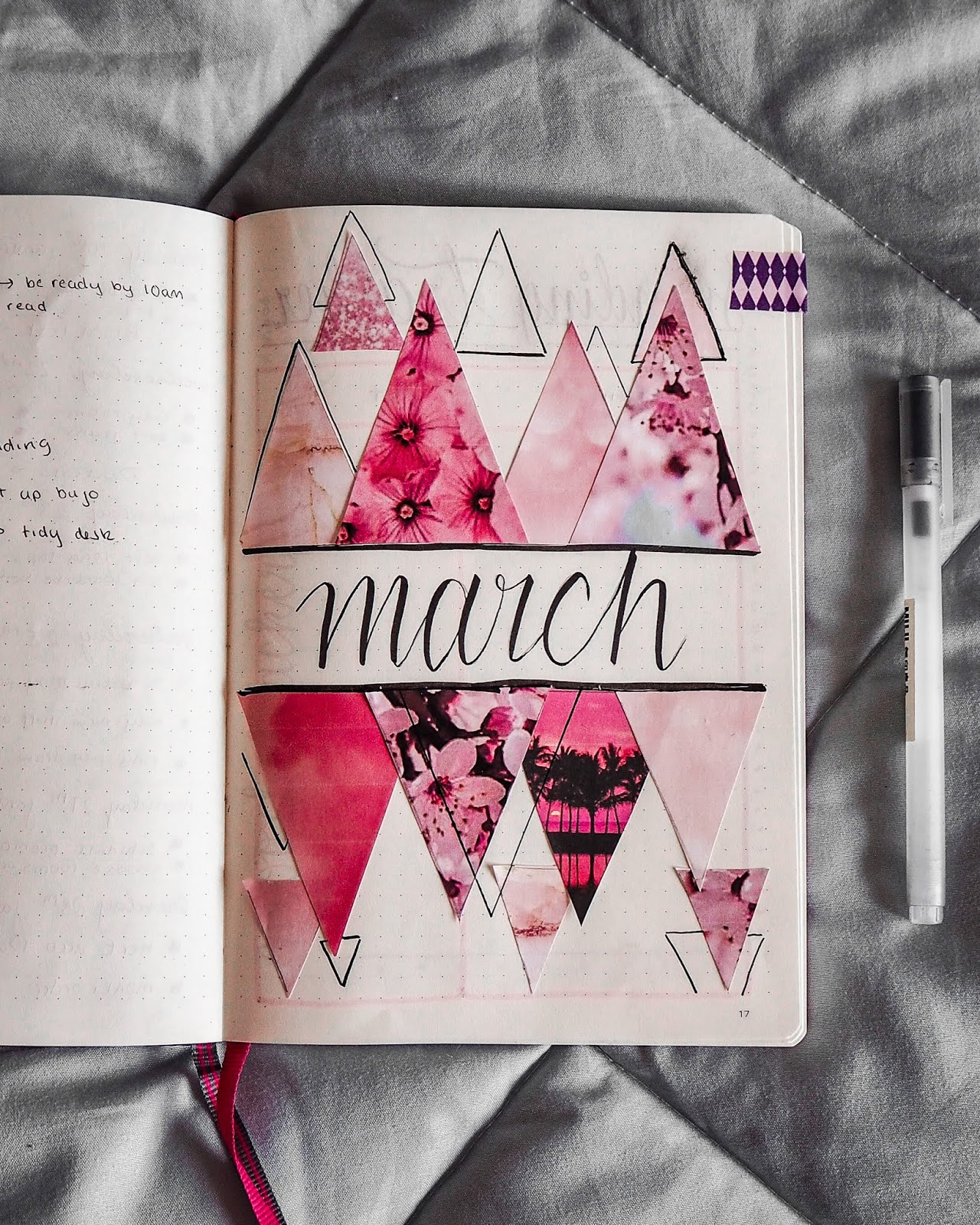 march is written in cursive font in the centre of the page, with triangles of different pink prints surrounding it