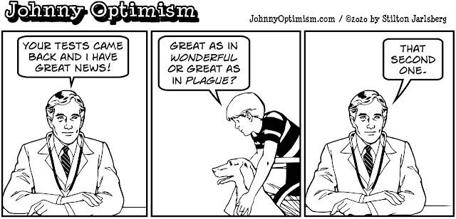 johnny optimism, medical, humor, sick, jokes, boy, wheelchair, doctors, hospital, stilton jarlsberg, great plague, tests, great