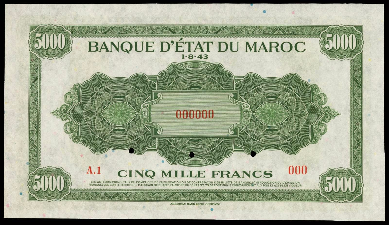 Morocco paper money 5000 Francs 1943