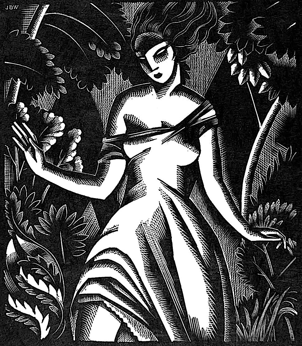 a John Buckland Wright wood cut of a woman running in a forest at night