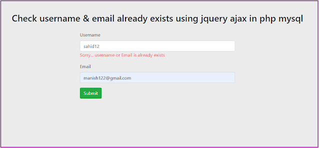 Check username & email availability using jquery ajax in php mysql