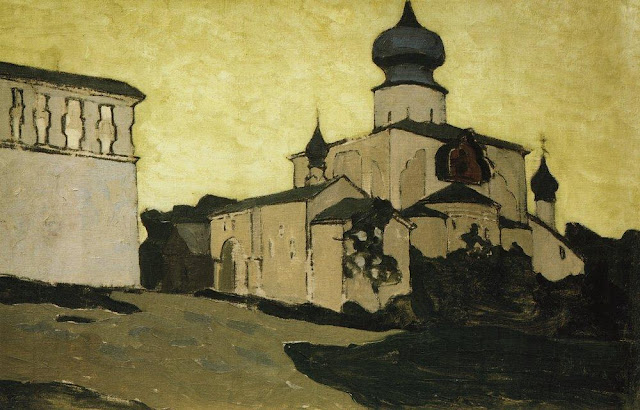 Николай Рерих - Успенская Пароменская церковь в Пскове. Начало 1900-х