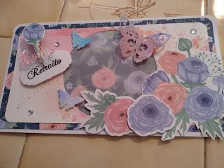 carte, retraite, fleur, violet, bleu, rose, papillon,