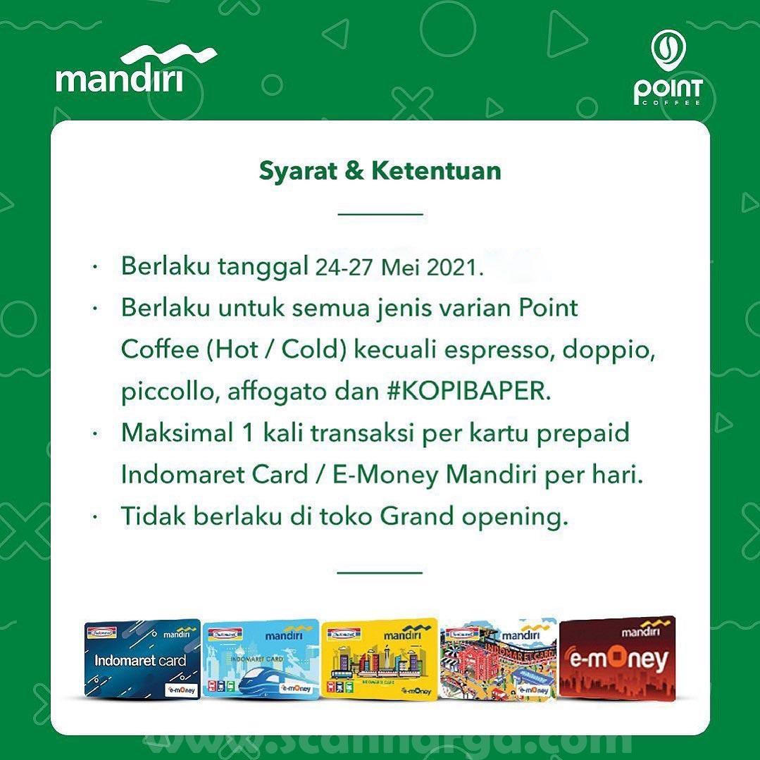 POINT COFFEE Promo Free Upsize! dengan Prepaid Indomaret /Kartu E-Money Mandiri