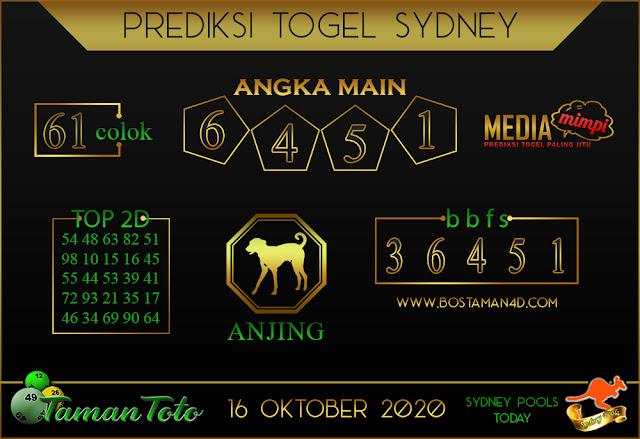 Prediksi Togel SYDNEY TAMAN TOTO 16 OKTOBER 2020