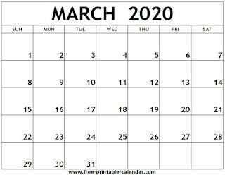 Free Printable Calendar March 2020