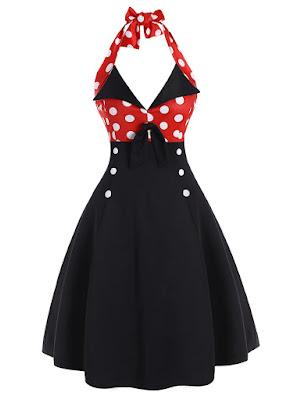 vestido vintage atado al cuello en negro con detalles en rojo con lunares blancos