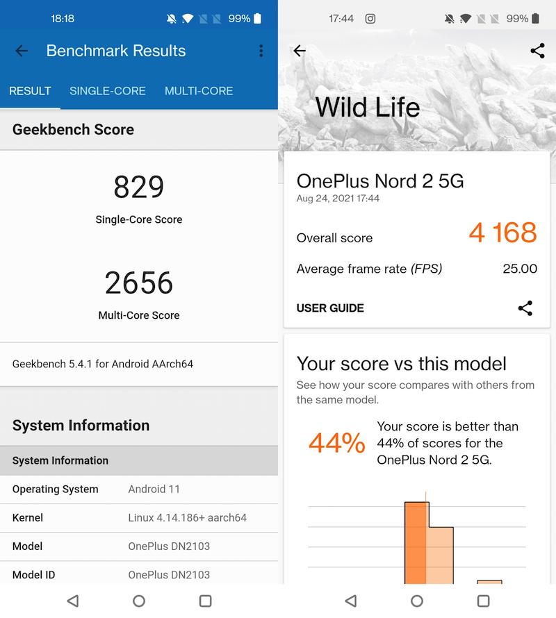 GeekBench and 3DMark Wild Life benchmark scores