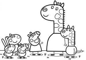 dibujo de peppa pig y las jirafas para colorear