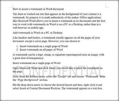 Cara Memasukkan Watermark Di Dokumen Word