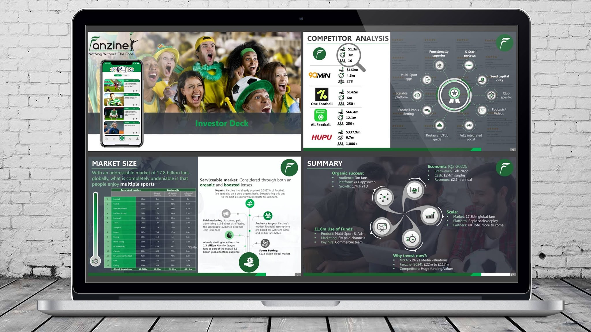 Sports mobile application PowerPoint investor pitch deck that demonstrates all the features and advantages of a platform for Premier League fans.