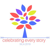 Celebrating Every Story WLA 2019 logo with stylized tree with red, blue, purple and yellow leaves