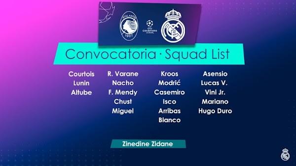 Real Madrid, convocados ante el Atalanta