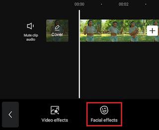 select facial effects menu