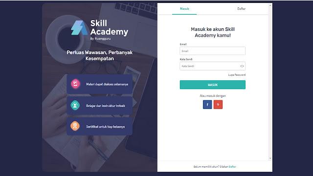 cara daftar akun skill academy