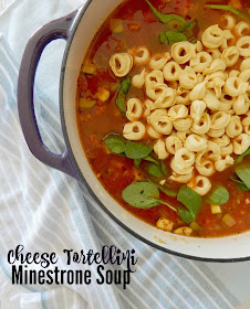 Cheese Tortellini Minestrone Soup...a delicious, healthy and hearty soup!  Full of vegetables, stock, tomatoes and of course cheese tortellini.  Everyone loves this winter/spring meal. (sweetandsavoryfood.com)