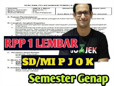 RPP 1 Lembar SD/MI PJOK  Kelas 3 Semester 2
