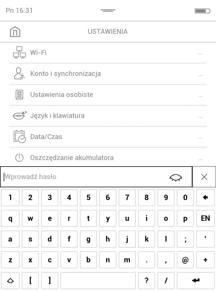 PocketBook Touch Lux 4 – ekran wpisywania hasła chroniącego dostęp do ustawień czytnika