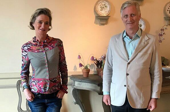 King Philippe, Queen Mathilde, Crown Princess Elisabeth, Prince Gabriel and Princess Eleonore met with Princess Delphine at Laeken Royal Palace