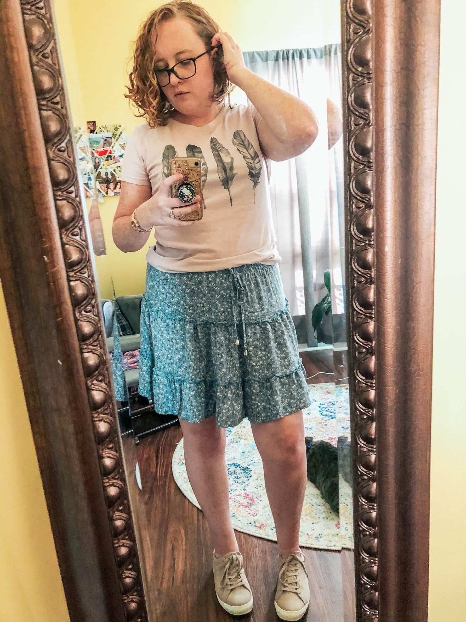 feather-tshirt-blue-floral-mini-skirt
