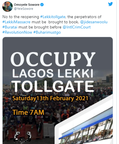 #OccupyLekkiTollgate trends on Twiiter as Nigerians plan another protest for the reopening of lekki toll gate