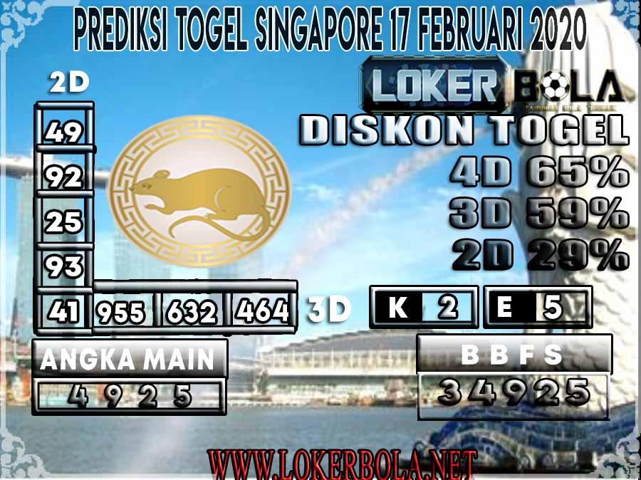 PREDIKSI TOGEL SINGAPORE LOKERBOLA 17 FEBRUARI 2020