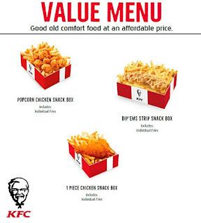 KFC Canada Menu Prices May 5 - Juni 30, 2017