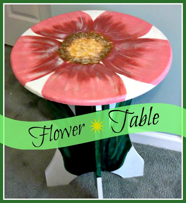 Vintage, Paint and more... round table painted like a flower